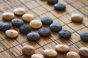 Wooden mixed chips of GO game