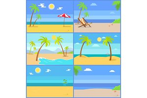 Set Tropical Coastline Views Vector Illustrations