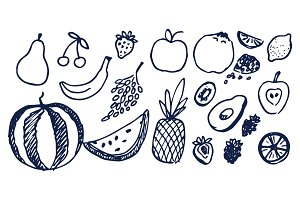 Lot of Black Hand Drawn Fruits Vector Illustration