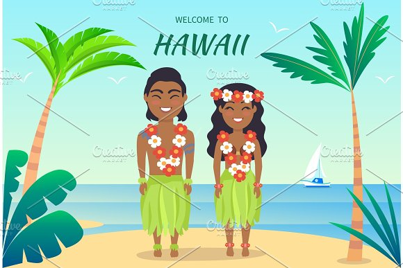Welcome To Hawaii Poster On Vector Illustration