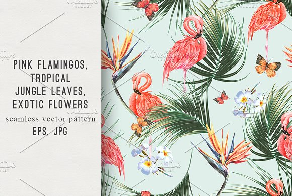 Tropical Pink Flamingo Pattern