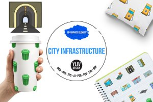City infrastructure icons set, carto