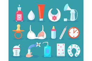 Children Care Collection Items Vector Illustration