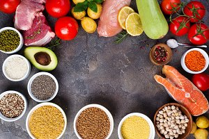 Organic Healthy food Clean eating selection Including Certain Protein Prevents Cancer: fish, meat, spice, vegetable, cereal