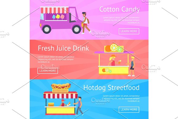 Cotton Candy And Fresh Juice Vector Illustration