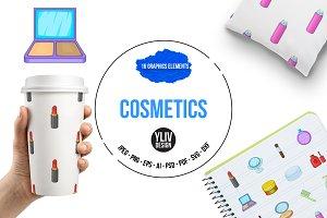 Cosmetics items icons set, cartoon