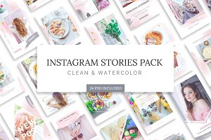 Instagram Watercolor Stories Pack