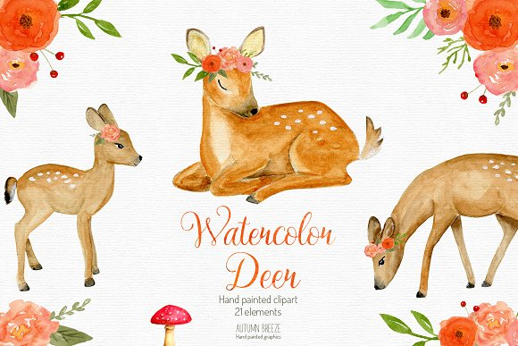 Watercolor Baby Deer Clipart