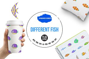 Different fish icons set, cartoon