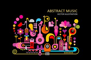 4 Abstract Music Vector Backgrounds