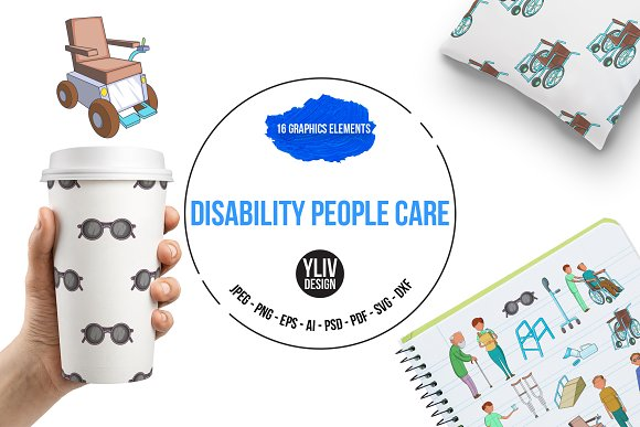 Disability People Care Icons Set