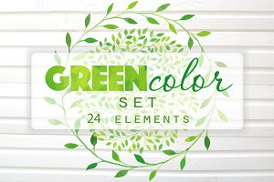 Green Watercolor Vector Big Set