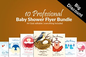 10 Baby Shower Invites Bundle