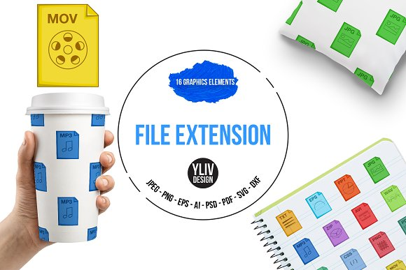 File Extension Icons Set Cartoon
