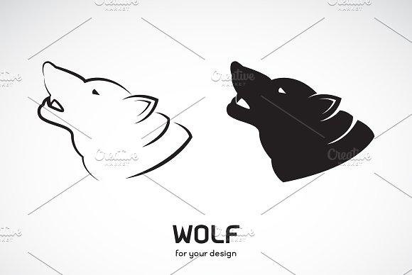 Vector Of Wolf Head Design Animal