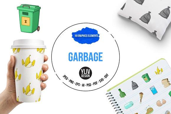 Garbage Items Icons Set Cartoon