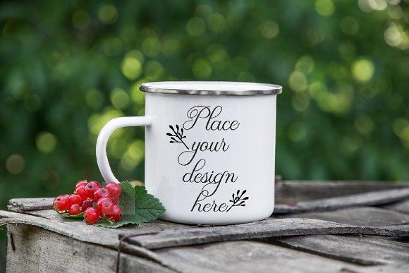 Enamel Mug Camping Metal Tin Mug Psd
