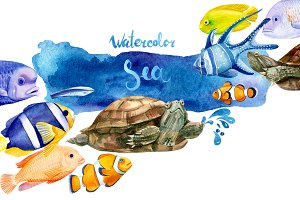Marine life, watercolor fish