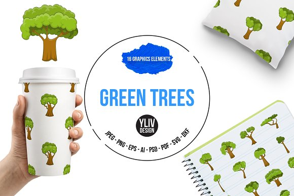 Green Trees Icons Set Cartoon Style