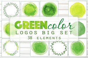 Green Watercolor Vector Logos Set