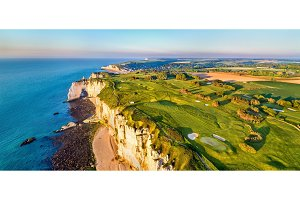 Aerial panorama of chalk cliffs at Etretat - Normandy, France