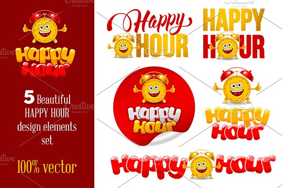 Happy Hour Design Elements Set