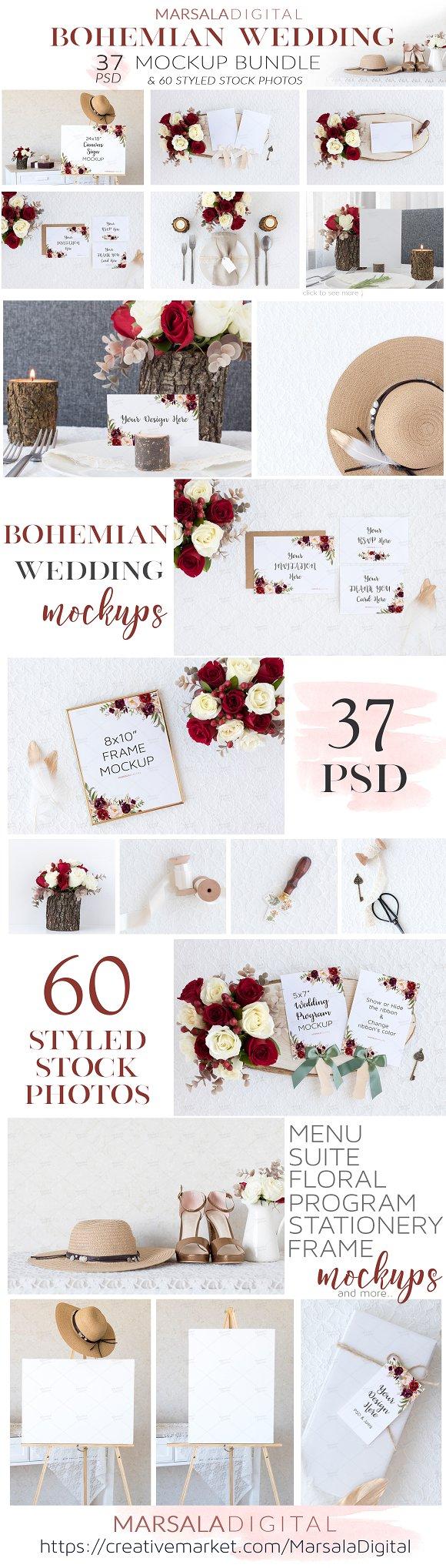 Bohemian Wedding Mockup Bundle