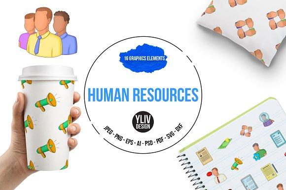 Human Resources Icons Set Cartoon