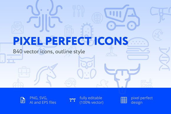 840 Pixel Perfect Icons Pack