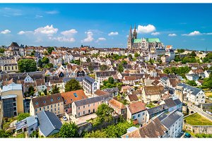 Aerial view of Chartres city with the Cathedral. A UNESCO world heritage site in Eure-et-Loir, France