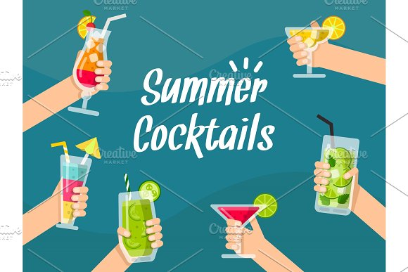 Summer Background Illustrations With Various Healthy Juice And Cocktails In Hands