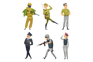 Military characters. Army soldiers male and female