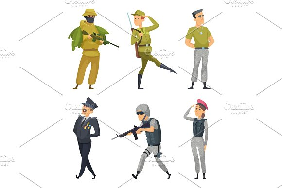 Military Characters Army Soldiers Male And Female