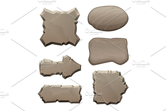 Panels From Stones And Rocks Vector Pictures Isolate