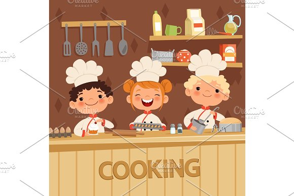 Background Illustrations Of Kids Preparing Food On The Kitchen