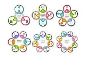 Infographic radial shapes. Circled charts and processes visualization