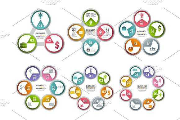Infographic Radial Shapes Circled Charts And Processes Visualization