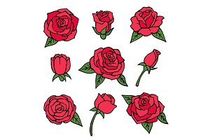 Vector pictures set of various roses. Love symbols