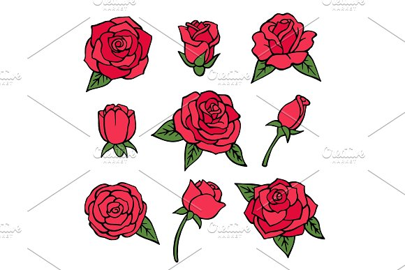 Vector Pictures Set Of Various Roses Love Symbols