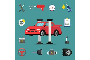 Various details for car service. Vector flat illustrations