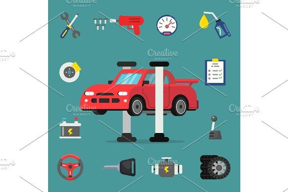 Various Details For Car Service Vector Flat Illustrations