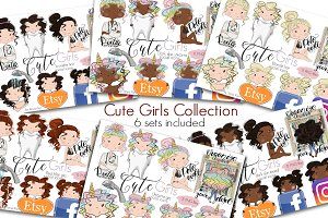 Collection Cute Girls Social Icons