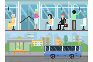 Horizontal banners with illustrations of urban landscape with transport stations. Bus interior with passengers