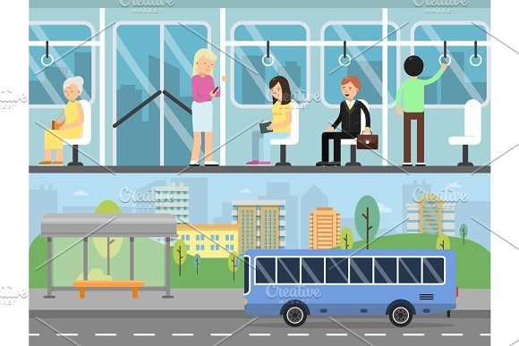 Horizontal Banners With Illustrations Of Urban Landscape With Transport Stations Bus Interior With Passengers
