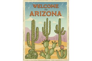 Design template of retro poster welcome to arizona. Illustrations of wild cactuses