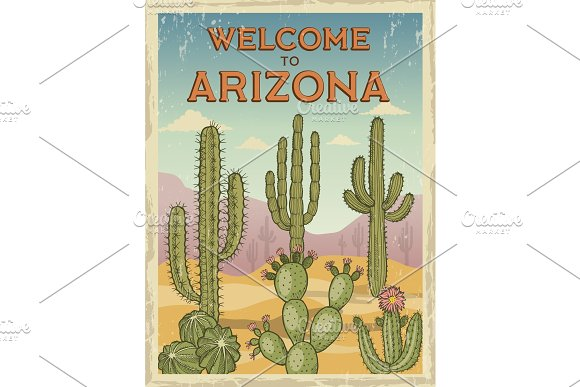 Design Template Of Retro Poster Welcome To Arizona Illustrations Of Wild Cactuses