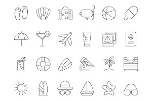 Mono line pictures of summer time theme. Vector icons set