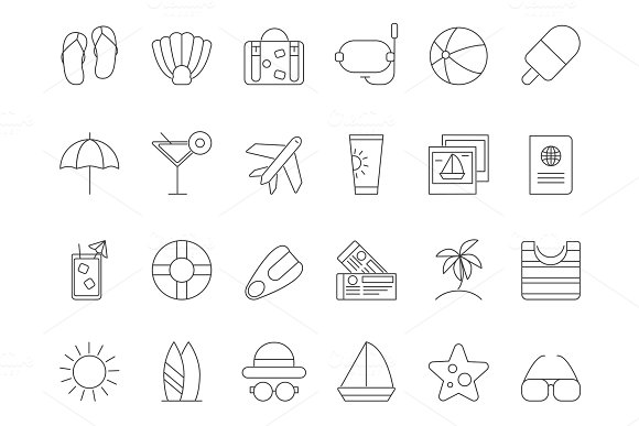 Mono Line Pictures Of Summer Time Theme Vector Icons Set