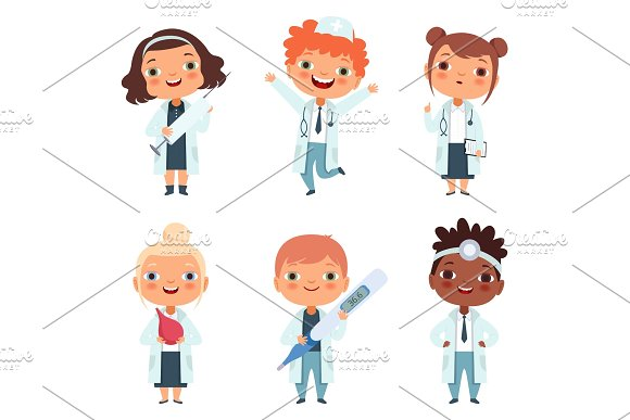 Doctor Profession Childrens In Different Poses