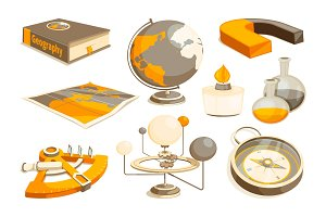 Symbols of science and geography. Tools for laboratory. Vector monochrome pictures set